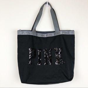 VICTORIA'S SECRET PINK Black Sequin Tote Bag